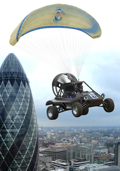Biofuelled flying car in action.
